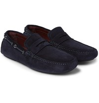 Brioni Leather Trimmed Suede Driving Shoes Navy
