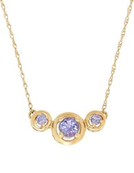 Lord And Taylor Tanzanite 14K Yellow Gold Three Stone Necklace Blue