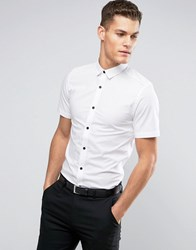 Only And Sons Skinny Short Sleeve Shirt With Black Buttons White