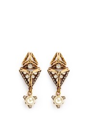 Erickson Beamon 'Bermuda Triangle' Glass Pearl Earrings Metallic