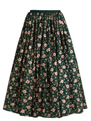 Ashish Floral Embellished Cotton Skirt Dark Green