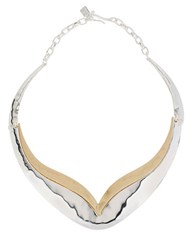Robert Lee Morris Boho City Hammered Two Tone Collar Necklace