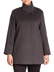 Cinzia Rocca Wool Short Coat Charcoal