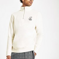River Island White 'R96' Slim Fit Funnel Neck Sweatshirt