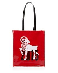 Bloomingdale's Tote Year Of The Ram Chinese New Year Medium Red