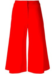 Jonathan Simkhai Wide Legged Cropped Trousers Red