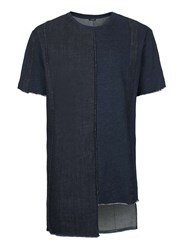 Topman Black Aaa Indigo Denim Patchwork T Shirt