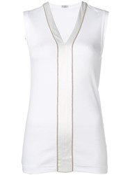 Brunello Cucinelli Satin Stripe Top White