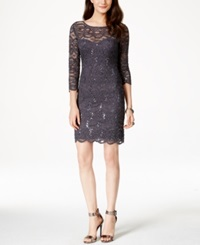 Jump Juniors' Sequin Lace Sheath Dress Gunmetal