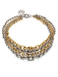 Giles And Brother Two Tone Pave Multi Chain Necklace Gold Silver