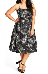 City Chic Plus Size Women's Mono Garden Fit And Flare Dress