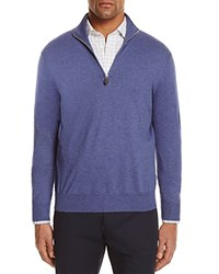 Bloomingdale's The Men's Store At Cotton Blend Half Zip Sweater Perfect Blue