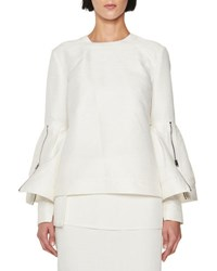 Tom Ford Crewneck Bell Sleeve Top White