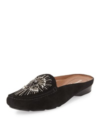 Lucia Beaded Suede Mule Black Donald J Pliner