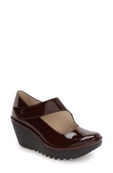 Fly London Women's 'Yasi' Wedge Pump Burgundy Patent Leather