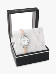 Sekonda 2795G.76 'S Leather Strap Watch Crystal Pendant Necklace And Earrings Gift Set Beige White