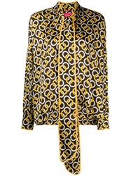 F.R.S For Restless Sleepers Geometric Print Scarf Neck Blouse 60