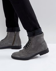 Kg By Kurt Geiger Military Lace Up Boots Black Grey