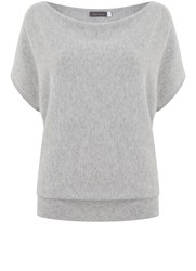 Mint Velvet Silver Grey Short Sleeve Batwing Knit Grey