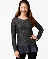 Alfani Petite Chiffon Hem Sequin Knit Top Perfect Grey
