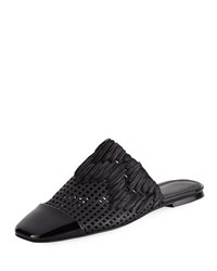 Sigerson Morrison Gallia Square Toe Perforated Mule Black