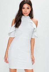 Missguided Tall Exclusive White Frill Cold Shoulder Dress