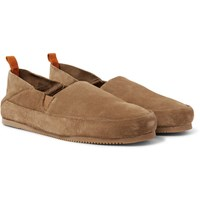 Mulo Suede Collapsible Heel Loafers Light Brown