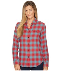 Filson Scout Shirt Red Turquoise Plaid Women's Clothing Multi