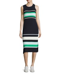 Grey By Jason Wu Striped Crew Neck Tank Dress Blue Green Blue Green