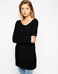 Asos Slouch Jumper In Textured Knit Black