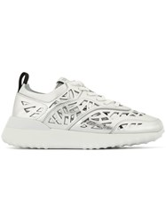 Tod's Stencil Cut Sneakers Silver