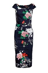 Jolie Moi Floral Print Ruched Wiggle Dress Navy
