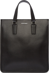 Alexander Mcqueen Black Grained Leather Heroic Tote Bag
