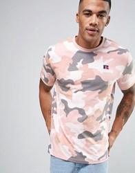Russell Athletic T Shirt In Camo Pink Green