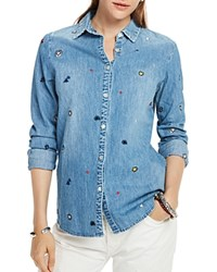 Scotch And Soda Embroidered Denim Shirt Combo A