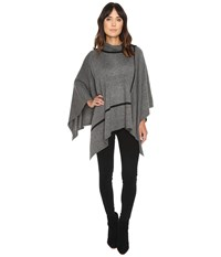 Michael Stars In Check Turtleneck Poncho Galvanized Women's Clothing Gray