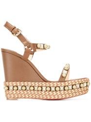 Christian Louboutin Pearl Studded Wedge Sandals Brown
