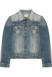 Simon Miller Keyes Cropped Distressed Denim Jacket Mid Denim