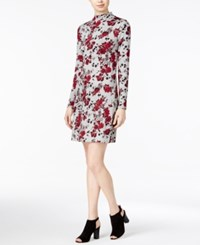 Kensie Floral Print Mock Turtleneck Dress Raspberry Combo