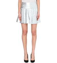 Dkny Metallic Lace Skater Skirt Silver