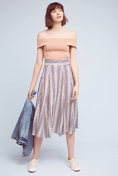 Anthropologie Etienne Midi Skirt Blue Motif