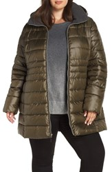 Marc New York Plus Size Removable Hood Puffer Coat Olive
