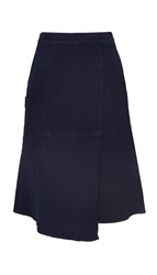 Tibi Denim Wrap Midi Skirt
