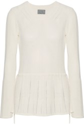 Maiyet Pointelle Trimmed Ribbed Stretch Knit Peplum Sweater Off White