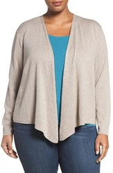 Nic Zoe Plus Size Women's '4 Way' Three Quarter Sleeve Convertible Cardigan Mushroom
