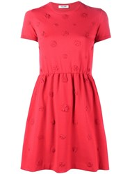 Valentino Floral Applique Skater Dress Red