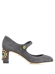 Dolce And Gabbana Floral Embellished Suede Pumps Grey Multi