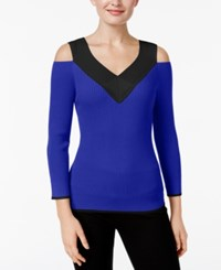 Cable And Gauge Cold Shoulder Ribbed Colorblocked Sweater Angelfish Blue Jet Black