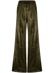 Alberta Ferretti Sequin Embellished Track Pants Green