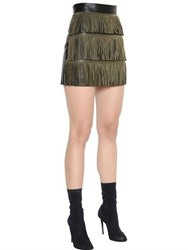 Francesco Scognamiglio Fringed Nappa Leather Mini Skirt